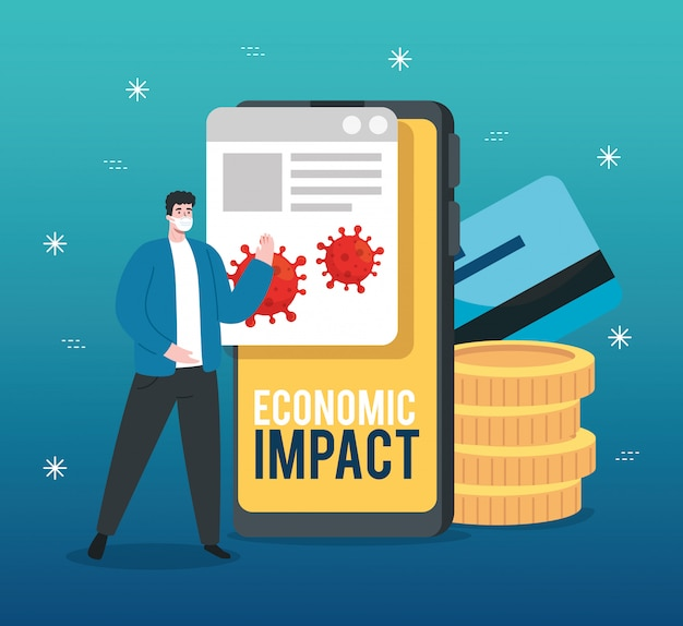 Man with smartphone and icons of economic impact by covid 2019