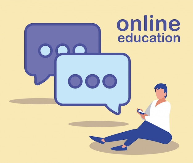Man with smartphone and speech bubble, online education