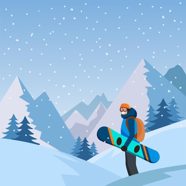 A man with a snowboard on the mountain landscape backgroundsnowboarding  extreme sport activities