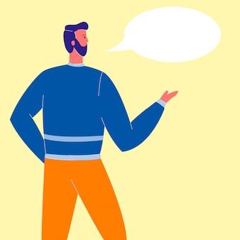 Man with speech bubble flat vector illustration