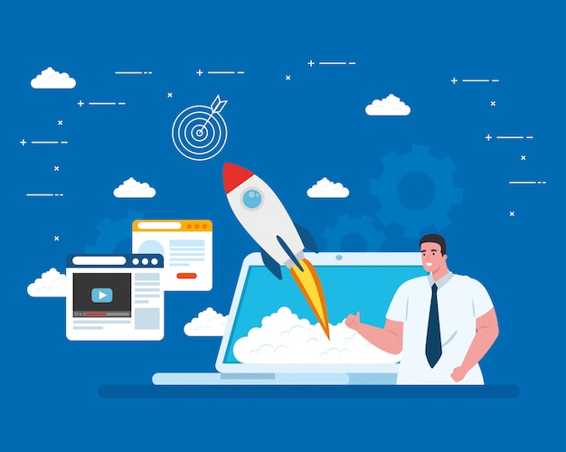 Man with start up rocket in laptop and icon set vector design