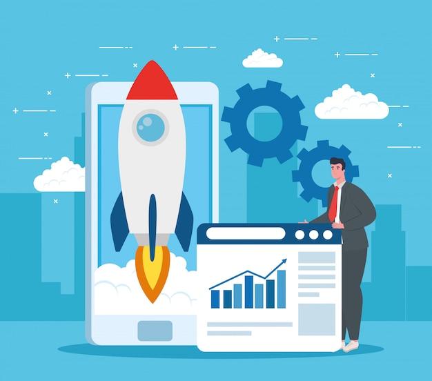 Man with start up rocket smartphone and website vector design