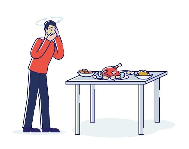 Мужчина с болезнью желудка, чувствуя тошноту перед едой, страдает от потери аппетита