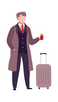 Человек с чемоданом и паспортом с билетами на посадочный талон. мультяшный бизнесмен в аэропорту. пассажир собирается в самолет или поезд. плоские векторные иллюстрации, изолированные на белом фоне