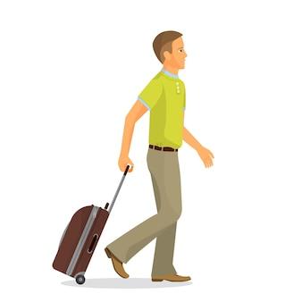 スーツケースを持った男が空港ターミナルに行きます。