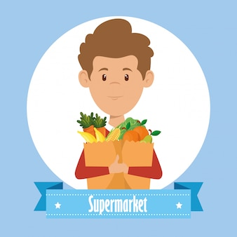 Man with supermarket groceries in shopping bag