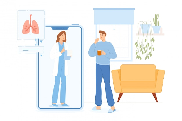 病気の症状を持つ男性は、自宅でオンラインで医師とやり取りします。