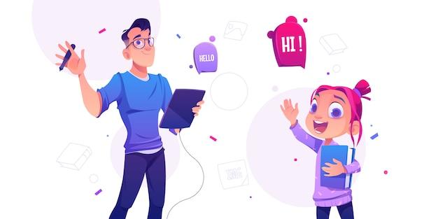 Человек с планшетом и маленькая школьница