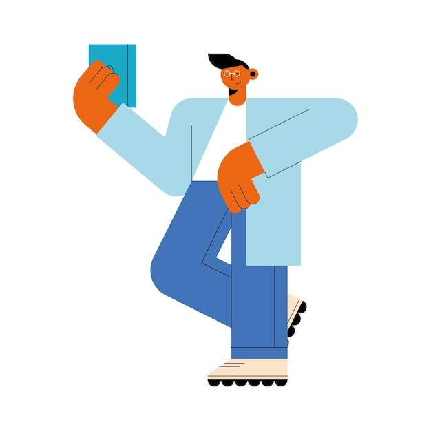 Человек с характером технологии планшета