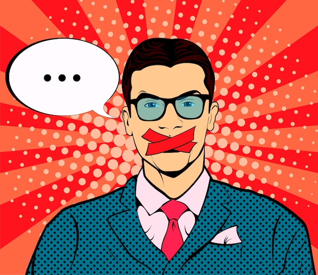 Man with taped mouth pop art retro vector