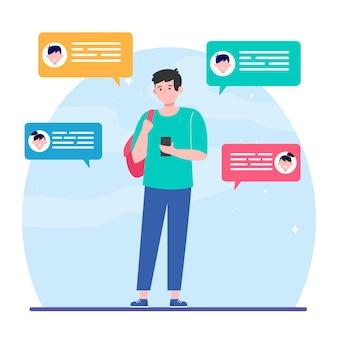 Человек с текстовыми сообщениями и получением сообщений