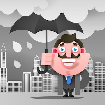 우산을 가진 남자는 귀하의 디자인에 대 한 거리 벡터 일러스트 레이 션에 서