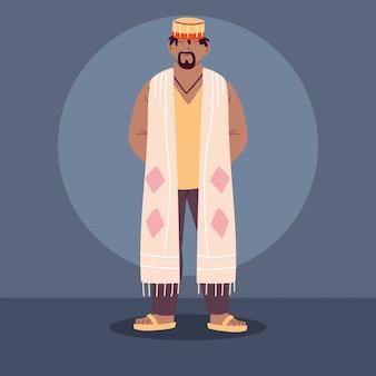 アフリカの伝統的な民族衣装を持つ男