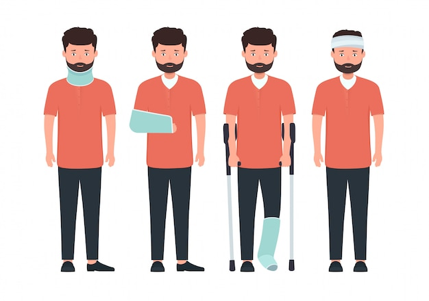 Man with various types of injuries.