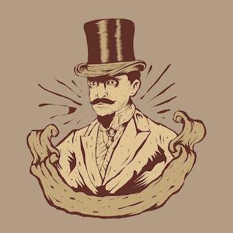 Человек с винтажной модой и иллюстрацией логотипа большой шляпы