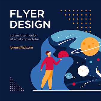 Man with vr headset in space isolated flat flyer template