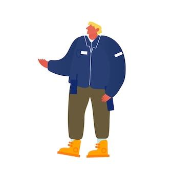制服を着たトランシーバーを持つ男