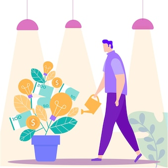 Man with watering can hand near money tree. vector