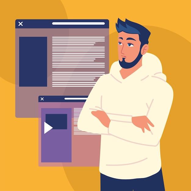Man with websites
