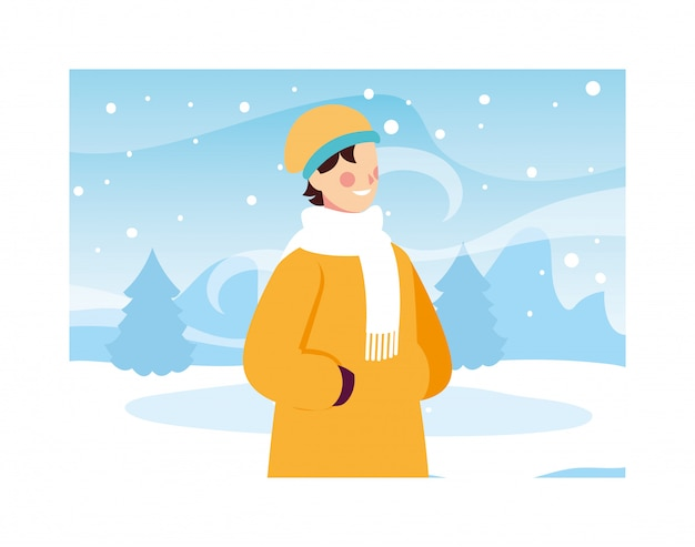Man with winter clothes in landscape with snowfall