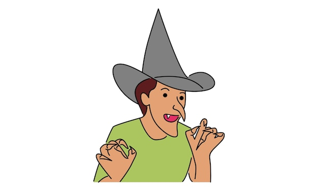 Man with witch halloween costume