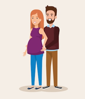 Man with woman pregnacy avatar character