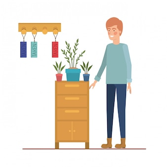 Man with wooden shelving on white icon