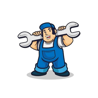 Man with wrench repairman with hat character   illustration