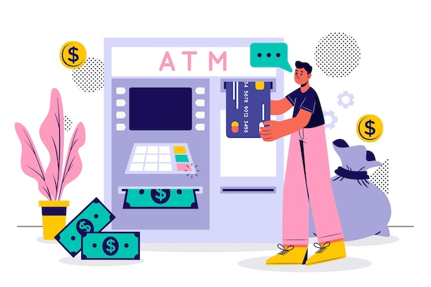 Uomo che ritira i suoi soldi dalla banca
