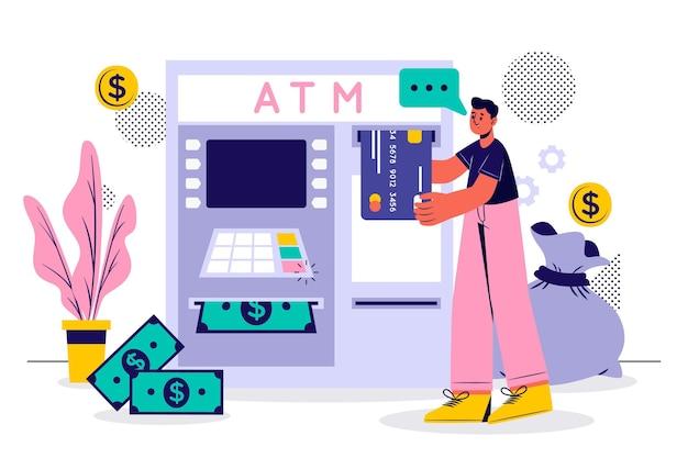 Человек снимает деньги в банке