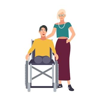 車椅子に座っている足のない男と彼のガールフレンドまたは妻が横に立っています。身体障害を持つ幸せな男性の漫画のキャラクターと彼の女性の友人。かわいいカラフルなベクトルイラスト。