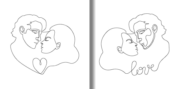 Man and woman abstract outline portraits set