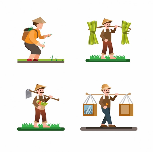 Man and woman activities in farm village collection set illustration vector