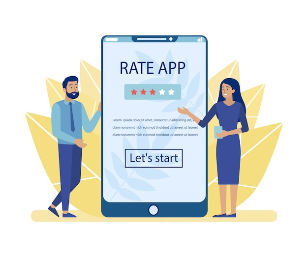 Man and woman advertising rate app for mobile
