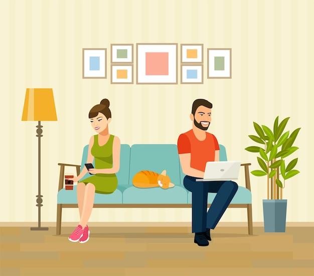 남자, 여자, 고양이는 노트북과 스마트폰을 들고 소파에 앉아 있습니다. 벡터 평면 그림