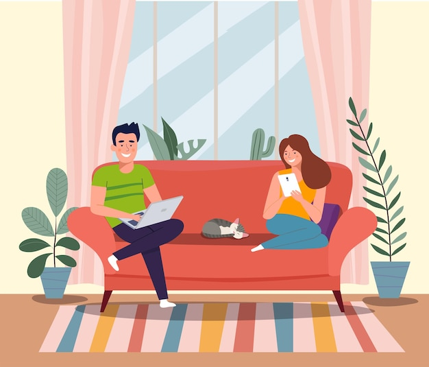 남자, 여자, 고양이는 노트북과 태블릿을 들고 소파에 앉아 있습니다. 벡터 평면 그림