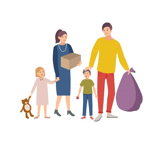 男性、女性、子供がバッグや箱を運び、古いアイテムや衣類を入れて寄付する