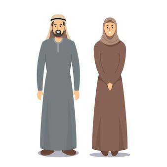 Man and woman arabic people. bearded arabian male character dressed in traditional grey national costume and girl in brown hijab isolated on white background. cartoon people vector illustration