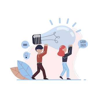 A man and a woman are holding a huge light bulb metaphor of the seach for ideas office workers