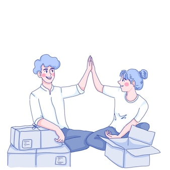 Man and woman are packing orders.