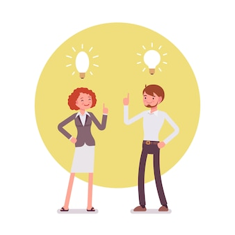 Man and woman are pointing to the lamp, idea