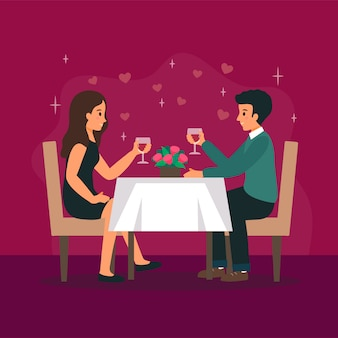 Man and woman are in the restaurant on the romantic date.