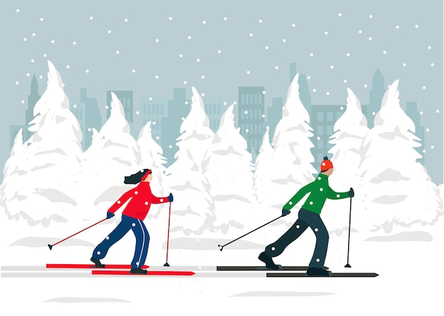 A man and a woman are skiing in the winter forest, people are active. sports, healthy lifestyle.