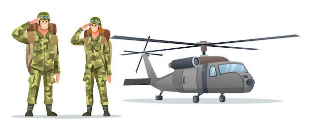 Man and woman army soldier carrying backpack characters with military helicopter