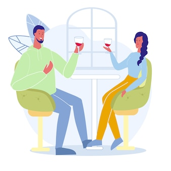 Man and woman in bar flat vector illustration