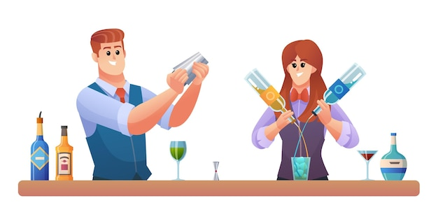 Man and woman bartender characters mixing drinks concept illustration
