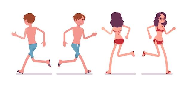 Man and woman in a beachwear set, running pose
