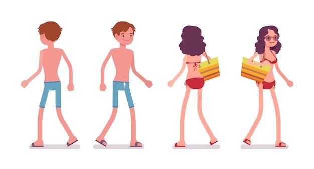 Man and woman in a beachwear set, walking pose