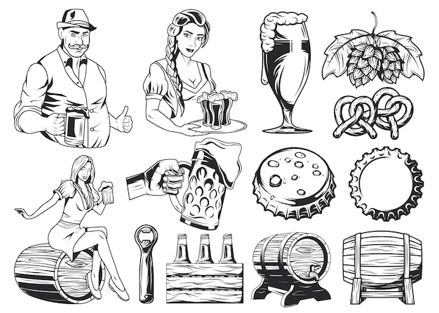 Мужчина, женщина, пивная кружка, крышка от пивной бутылки, хмель, крендель, бочки, пивные бутылки и открывалка для пива.