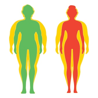 Man and woman before and after diet and fitness weight loss concept